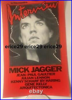 1985 Mick Jagger Rolling Stones Interview Magazine Andy Warhol Poster 11 x 17