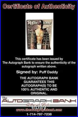 Bad Boy Records P Diddy Puff Daddy signed Rolling Stone Magazine /Cert Autograph