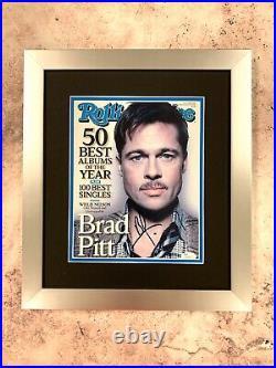 Brad Pitt Signed Jsa Auto Magazine Cover Custom Framed Rolling Stones