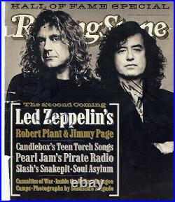 Jimmy Page Robert Plant Signed 1995 Rolling Stone Magazine Cover REAL/Epperson