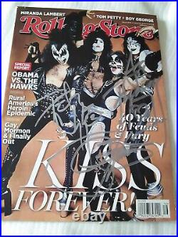 Kiss 2014 Rolling Stone Magazine Signed Gene Simmons Peter Criss Ace Frehley