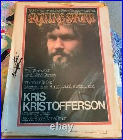 Kris kristofferson Autograph Signed 1974 Rolling Stone Magazine Blade Signature