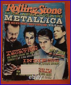 Metallica Full Band Signed Autographed Rolling Stone Magazine Early 1996 Sigs