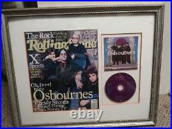 THE OSBOURNES Signed Rolling Stone Mag OZZY OSBOURNE with COA +Frame RARE! NM